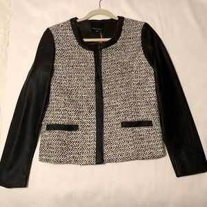 NWOT Cynthia Rowley Tweed and Faux Leather Jacket